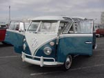 Beautiful Sea Blue VW 21-window  deluxe samba bus