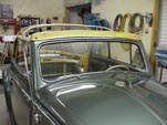 Front view of the convertible top frame on a restored 1954 Volkswagen convertible bug