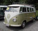 Restored Volkswagen 11 Window microbus with pressed bumpers