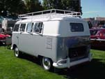 Beautifully restored VW microbus with gray and white paint job