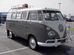 Restored Volkswagen Microbus With Roof Rack, painted white over gray