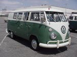Restored Vintage Volkswagen Microbus has white over velvet green paint