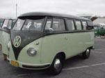 VW Microbus in Palm Green over Sand Green