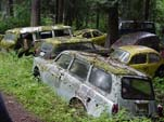 Forgotten VW junkyard With Vintage VW Squareback Station Wagon
