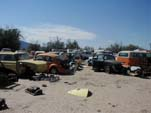 Abandoned VW beetles and squareback wagons in forgotten Volkswagen junkyard