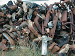 Large of Stack of Volkswagen Orignal Heater Boxes in Forgotten VW junkyard