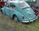 Original 1966 VW Bug in Java Green Stored in Volkswagen Junkyard