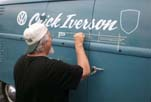 Chick Iverson graphics painted on a Volkswagen panel van