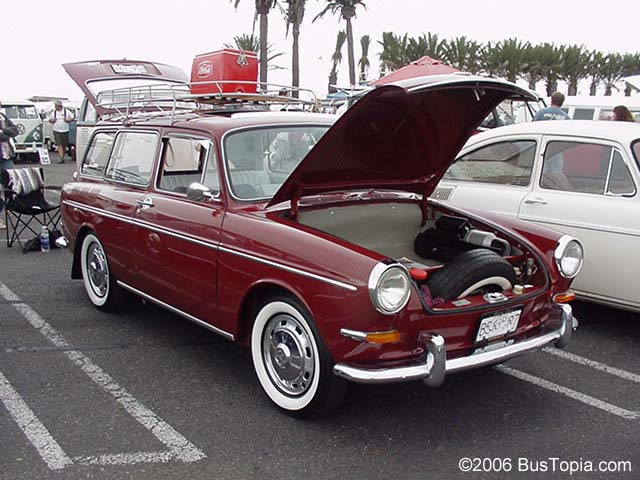 Red Volkswagen Squareback Wagon With Roof Rack
